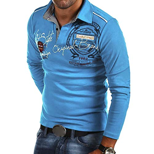 NUWFOR Fashion Men's Casual Slim Print Long Sleeve T Shirt Top Blouse Shirt(Sky Blue,US:S Chest 39)