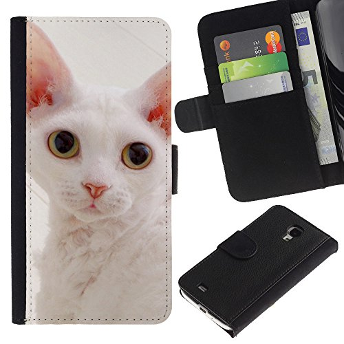 EuroCase - Samsung Galaxy S4 Mini i9190 MINI VERSION! - white devon rex big ears cat pink nose - Cuero PU Delgado caso cubierta Shell Armor Funda Case Cover