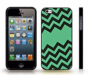 iStar Cases? iPhone 5/5S Case with Chevron Pattern Brown/ Green Stripe , Snap-on Cover, Hard Carrying Case (Black)