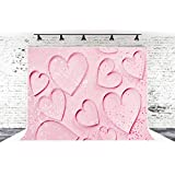 7ft x 5ft Pink Fong Hearts Valentine's Day Microfiber Photography Background for Photo Booth Studio Wedding Party Shot Backdrop Props
