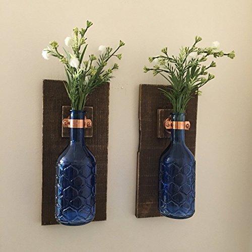 Rustic Blue Flower Hanging Vase Wall Sconce (Set of 2 ...