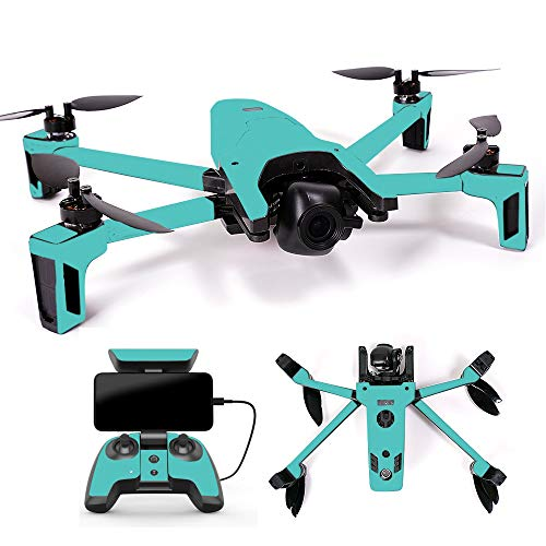 MightySkins Skin for Parrot Anafi Drone - Solid Turquoise | Protective, Durable, and Unique Vinyl Decal wrap Cover | Easy to Apply, Remove, and Change Styles | Made in The USA
