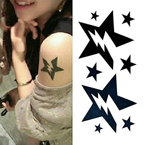 Oottati Tatuajes Temporales Rayo Estrella (Juego De 2): Amazon.es ...