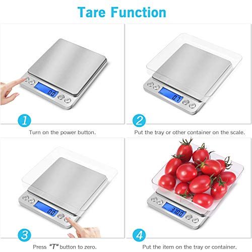 Food Scale, Baking Scale, Kitchen Scale,Mini Pocket Jewelry Scale, Electronic Food Cooking Scale in Stainless Steel with 2 Trays 0.1g-3000g/6.6lb