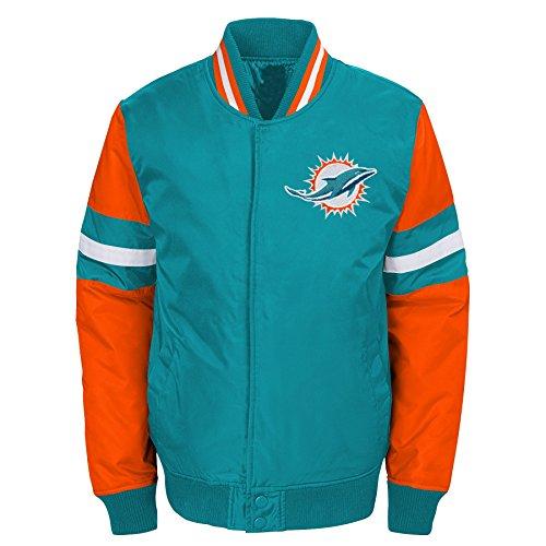 Miami Dolphins Colors (NFL Miami Dolphins Youth Boys Legendary Color Blocked Varsity Jacket Aqua, Youth Medium(10-12))