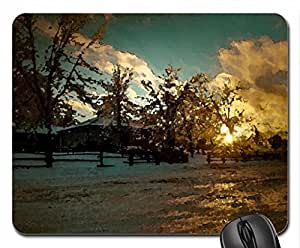 Dream house Mouse Pad, Mousepad (Winter Mouse Pad, Watercolor style)