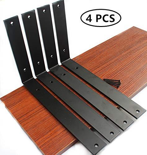 "4 Pack - L12"" x H 8"" x W 1.5"", 5mm Thick Rustic Shelf Bracket, Iron Shelf Brackets, Metal Shelf Bracket, Industrial Shelf Bracket, Modern Shelf Bracket, Decorative Shelving, Shelf Supports with Screws"
