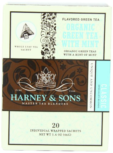 Harney and Sons Organic Green Tea Bags, Mint, 20 Count