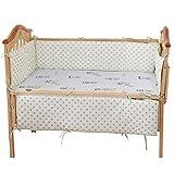 Jiyaru 4 Pieces Baby Crib Bumper Breathable Cotton Nursery Bedding Cot Pads Green