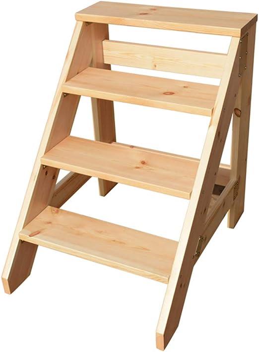 Escalera de Madera Taburete Paso 4 Escaleras de Tijera Resistentes Estante Ancho Pedal Escalada Escalera de Paso para niños o Adultos Escaleras para Herramientas de jardín en casa: Amazon.es: Hogar