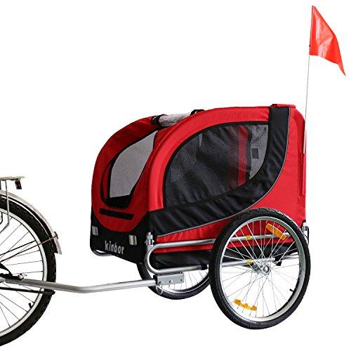 Kinbor New Basic Dog Bike Trailer Pet Bicycle Trailer Dog Carrier (Red)
