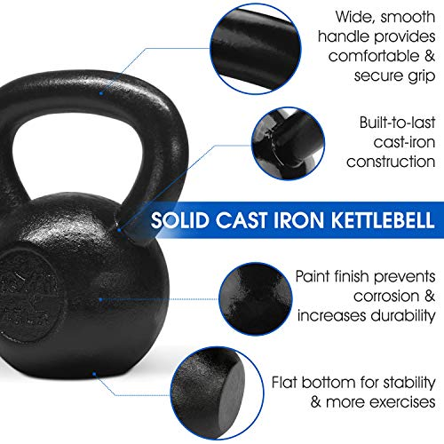 Yes4All Solid Cast Iron Kettlebell Weights Set – Great for Full Body Workout and Strength Training by Yes4All (Image #3)