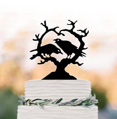Halloween Cake Topper, Cake Topper Halloween Party Decor, Christmas Cake Topper Tree, Crow Cake Topper With Tree,Unique Cake Topper