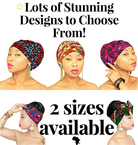 African Head Wrap | HEADBAND | HEAD WRAP | Hijab | PREMIUM QUALITY HEAD WRAP African Head Wraps Hair Loss African Fabric Turban Headband Muslim Head Cover Under Scarf by Royal Head Wraps (Image #4)