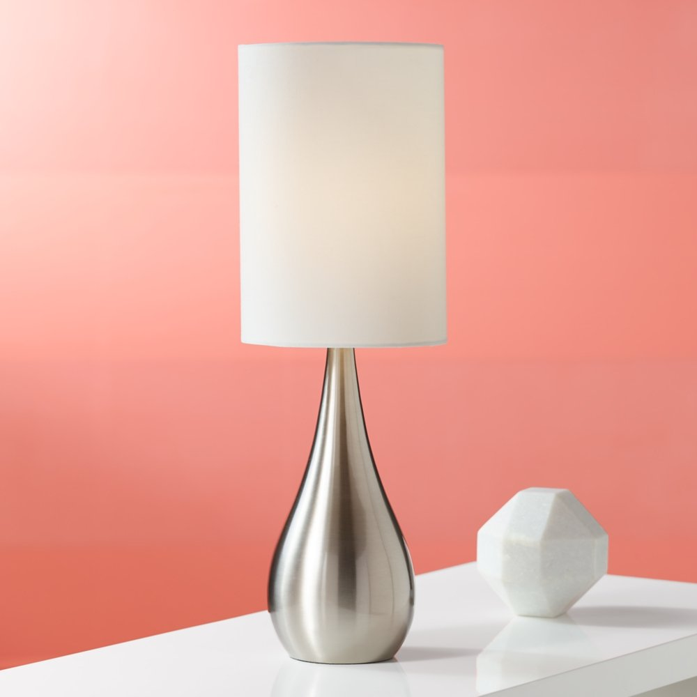 Teardrop Brushed Steel with White Shade 21-Inch-H Table Lamp ...