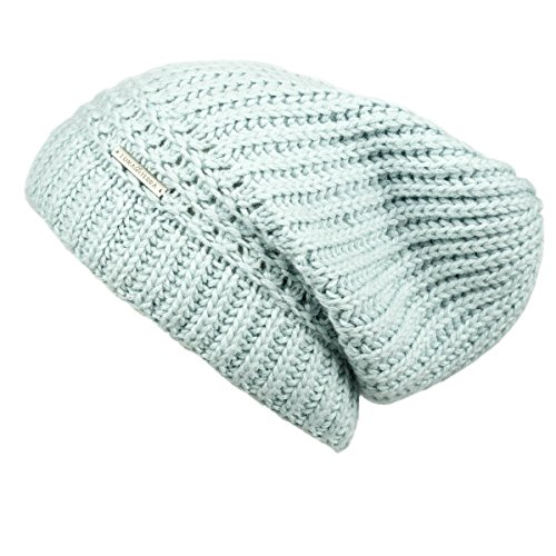 LUNA & TERRA - ANCONA Hat Beanie Hand Knitted 100% BABY ALPACA (Glacier Ice)