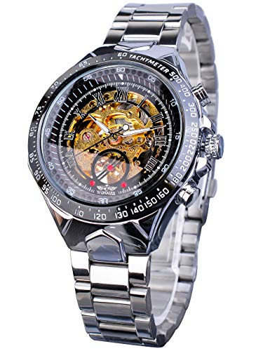 Winner Golden Movement Skeleton Stainless Steel Men Automatic Sport Wrist Watch