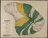 "1897 Old Wall Map Hawaii Lanai Government Survey - Map Reprint 44"" X 55"""