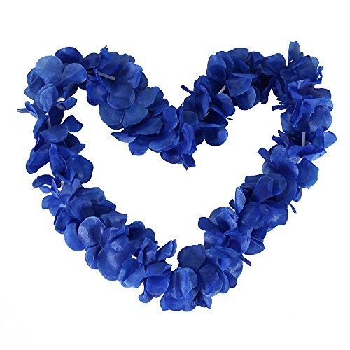 Tropical Hawaiian Luau Ruffled Simulated Silk Flower Leis Party Favor Pack of 10-Royal Blue]()