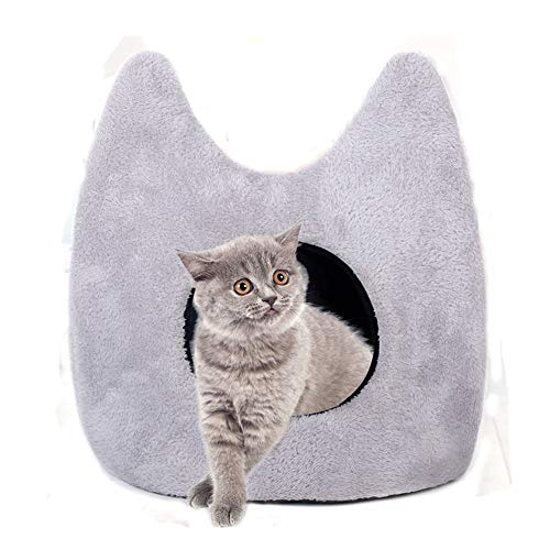 DCRYWRX Cat House, Cat and Dog Pet House Cave Style, Short Plush PP Cotton Stereo Warm Comfort (Gray)