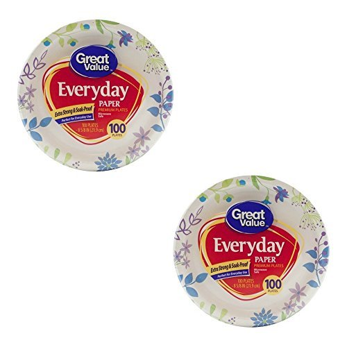 Great Value 8 5/8'' Heavy Duty Premium Party Paper Plates, 100 ct (2 PACK)