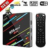 TV Box Android 8.1,4GB 64GB LinStar H96 max+ Smart Tv Box Bluetooth 4.0 RK3328 Quad Core WiFi H.265 64 Bit Set Top Boxes 3D 4K Ultra HD TV 2.4G / 5G Set WiFi Dual Band media player con telecomando