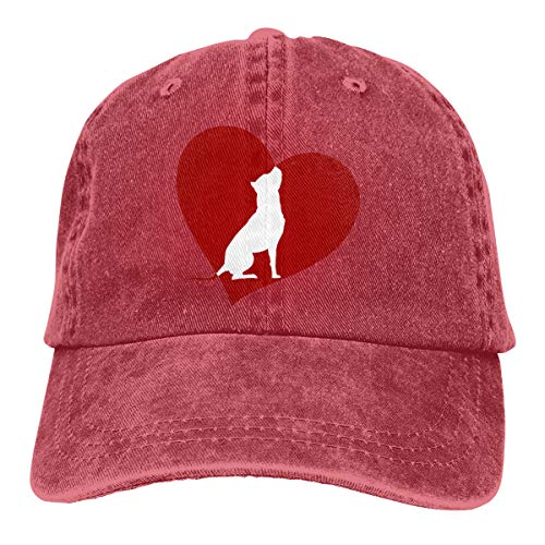 VANMASS Unisex Heart Pit Bull Terrier Washed Denim Baseball Cap Sun Visor Hats Adjustable Snapback