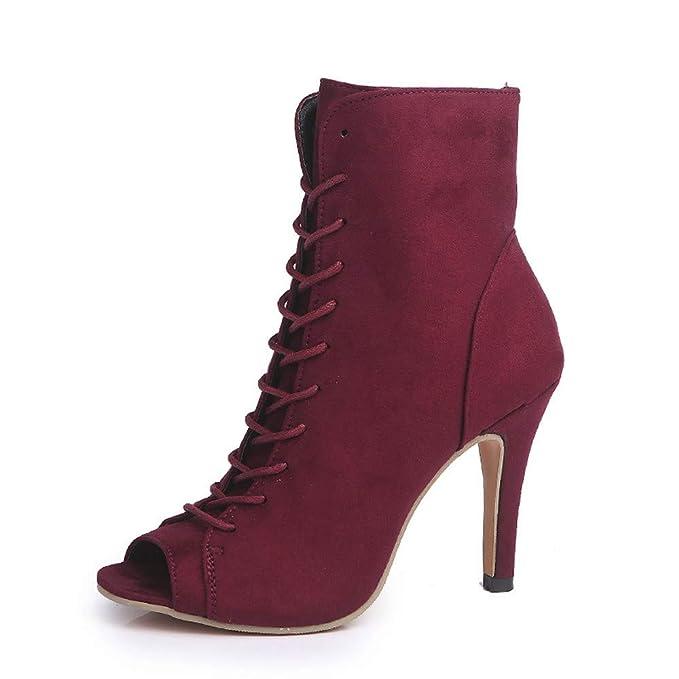 Zapatos con Flecos Botas Al Tobillo Botas de Mujer EN Negro Botas con Tacón de Imitación ...