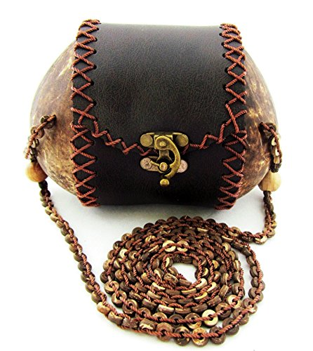 Coconut Purse Small Crossbody Brown Bag for Women Natural Wood Shell Thailand 7 Inches - At Coconut Point Stores