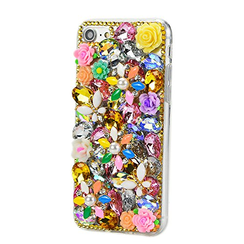 STENES iPhone 7 Case - Luxurious 3D Handmade Sparkly Crystal Bling Cover Hybrid Drop Bumper Protection Case With Retro Bow Anti Dust Plug - Butterfly Rose -