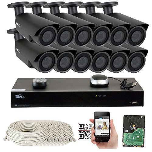 16 Channel H.265 4K NVR 5MP 1920p POE IP Camera System Wired, 12 x Varifocal Zoom 2.8-12mm Outdoor Indoor Security Camera - H.265 (Double recording data and enhance picture quality compared to H.264) by GW Security Inc