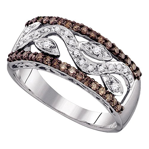 Jewels By Lux 10kt White Gold Womens Round Cognac-Brown Color Enhanced Diamond Floral Band Ring 3/8 Cttw Ring Size 7