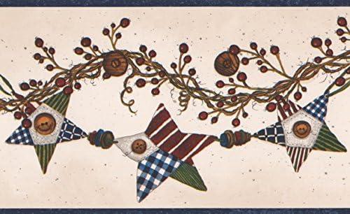 ブラウンブドウとベリーカラフルなスターガーランドココナッツホワイト壁紙ボーダーレトロデザインロール15フィートx 5で