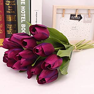 XGao 12pcs Artificial Tulip Faux Flowers Fake Holland Plants Real Touch Silk PU Flower for Vases Wedding Bride Bridesmaid Bouquets Garden Home Office Decor Party Centerpieces Decoration (PP) 2