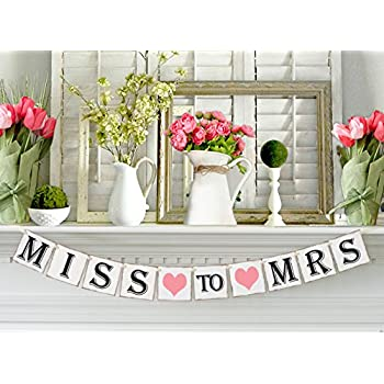 miss to mrs banner for bridal shower and party decorations and photo prop