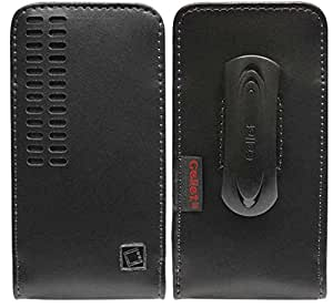 ZTE Awe Vertical Style Slide In Case Made In Genuine Leather With Removable Swivel Clip And Spring Clip Black