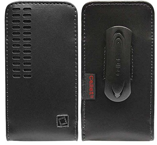 HTC Desire 612 Genuine Black Leather Case Pouch with Magnetic Closure and Removable Spring Clip Vertical Bergamo - Removable Clip Spring