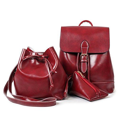 ANNE - Bolso mochila  de Poliéster para mujer negro rojo vino rojo vino