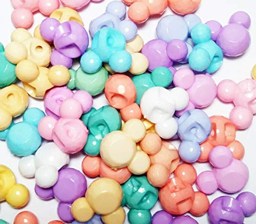 KID by AIB Mickey Head Beads Pastel Beads Acrylic Assorted Candy Color Mix 15 x 16mm for Children Girls DIY Jewelry Making Bracelet Necklace Pendant Craft Kits Kids 50 pcs