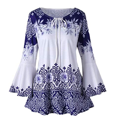 Mode Shirt Fashion Flare Chemisiers Jumpers Sleeve Hauts Tunique Femmes Bandage Col Simple Imprime Tops Printemps Blouse Tee Rond Bleu Jeune T Automne Casual RqwxYdA