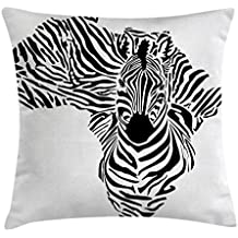 Safari Throw Pillow Cushion Cover by Ambesonne, Illustration of African Map with Zebra's Camouflage Stripes Patterns Cultural Print, Decorative Square Accent Pillow Case, 24 X 24 Inches, Black White