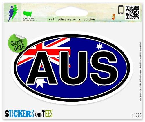Australia AUS Flag Coat of Arms Flag Oval Vinyl Car Bumper Window Sticker 3