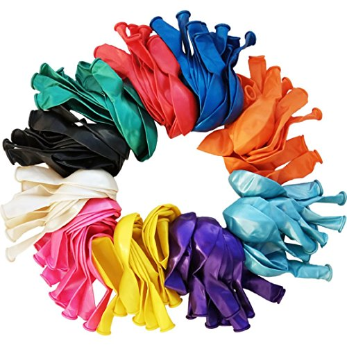 BIMBUMBOM 12 inch Balloons Multi Colored (101 Pcs) Premium Metallic Jewel Toned Balloons, Bulk Pack of Rainbow Assorted Color Latex Balloons