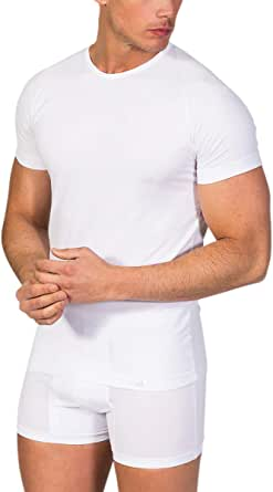 Camiseta Interior Hombre de Manga Corta con Cuello Redondo -ZD ...