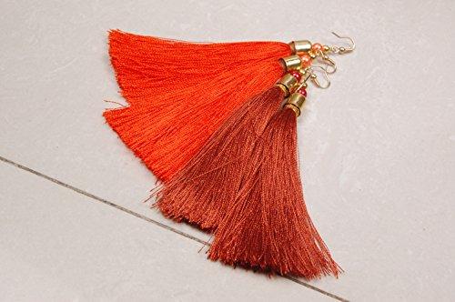 Krishna Handmade INDIAN Vintage Silk Thread TASSEL EARRING - 2 Pairs/Women Thread Earrings for Parties/Bohemian Earrings/Colour : ORANGE & ANTIQUE GOLD/[Krish-Tassel-003]