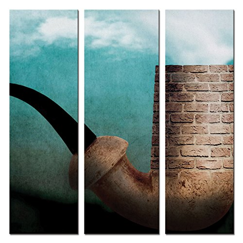 1X699034 Jpl and Ben Goossens Present Cest N'est Pas Une Pipe Abstract Smoke Stack Puff Triptych 3 Huge Panels Overall 48in Heavyweight Gallery Wrap Canvas, Extra Large ()