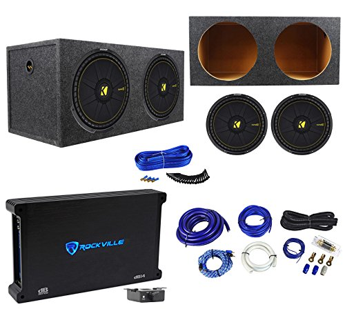 2 Kicker 44CWCS154 CompC 15″ 2400W Subwoofers+Rockville Amplifier+Sub Box+Wires