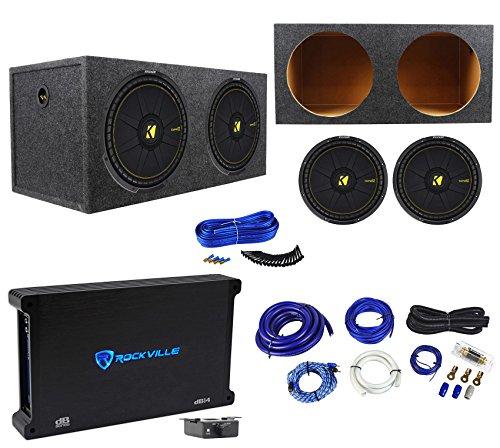 2 Kicker 44CWCS154 CompC 15″ 2400W Subwoofers+Rockville Amplifier+Sub Box+Wires