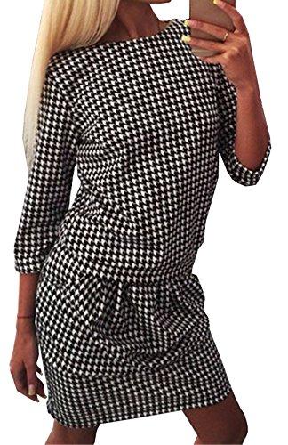 Frauen Midikleid Herbst Rundkragens 3/4-Arm Hahnentritt Sommerkleid Ballkleid Festkleid Cocktailkleid Abendkleider Partykleid (EU38, Schwarz)