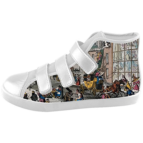 [NEWGOGO Custom London Scence Velcro High Top Canvas Kid's Shoes] (Dragon Ball Costume With Tail)